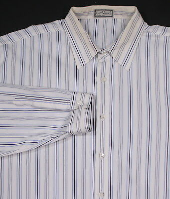 2060f7ef GIANNI VERSACE * Vintage 80's White/Blue Striped Oversized Dress Shirt 40/M