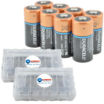 8 Pack Duracell CR123A Lithium Batteries 3V CR123 DL123 -  w/ 2 Battery Cases
