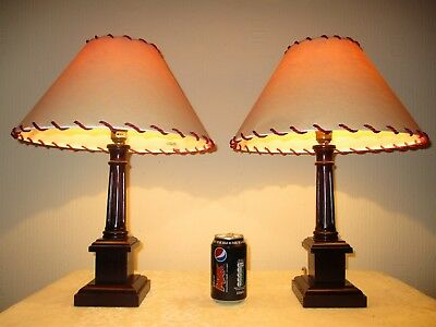 Pair Of Vintage Solid Oak Column Table Lamps With Vintage Shades