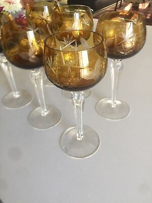 6 Bohemian Amber Crystal Color Cut to Clear Wine Hock Glasses Vineyard Theme.