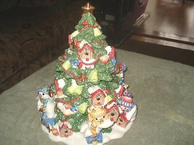 """Fitz and Floyd """"The Flurries"""" Large Christmas Tree Cookie Jar with BOX"""