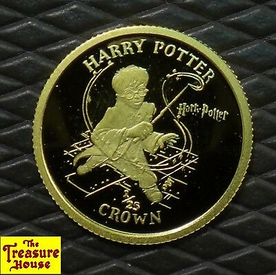 RARE! 2001 Isle of Man Harry Potter with Wand Proof 1/25 CROWN Pure Gold Coin NR