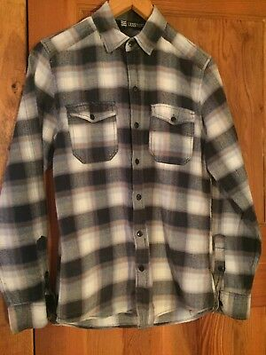 Vintage Mens Flannel Shirt Plaid Check Blue Grey Brown Size XXS-Small S Retro