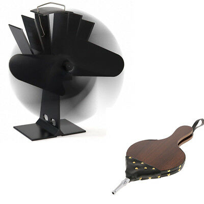 Fireplace Campfire Wooden Hand Bellows + Heated Fireplace Stove Log Fan Set