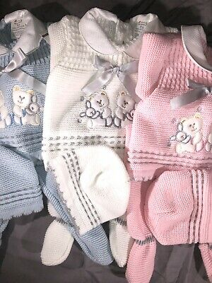 Spanish Baby Girls Boys Knitted Cardigan Pram Set Newborn Pink Blue White Boxed