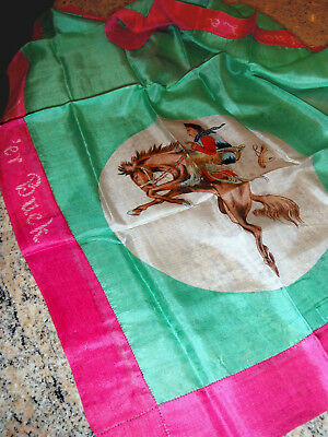 VINTAGE 1930s BUCKING BRONCO/COWBOY/RODEO THEMED SILK SCARF
