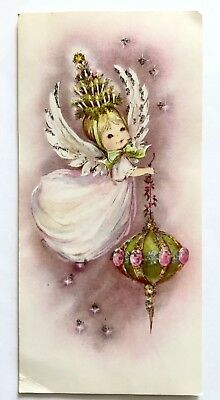 Vintage Christmas Card Angel Girl Mcm Ornament Glitter Candle Tree Pink Holly