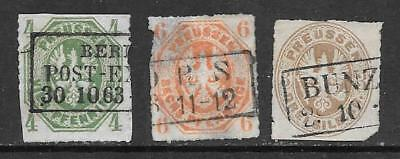 PRUSSIA - 1860s Definitives - 4pf., 6pf & 3sgr., Used.  Mixed Condition