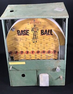 Vintage Baseball Coin Op Game Toy Candy Gum Vending Machine
