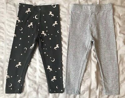 Next Baby Girls' Leggings Set 2 Grey Unicorns Stars Stripes 1.5-2 18-24 Months