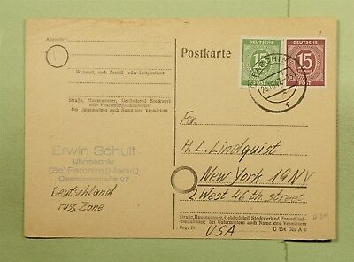 Dr Who 1957 Germany Parchim To Usa Postal Card C68939