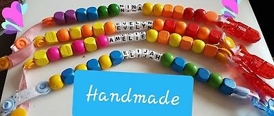 SALE😱 baby dummy holders with clips. Personalised handmade wooden beads.😊