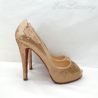 1d1326ffb8c244 Christian LOUBOUTIN Very Prive 120 Sequin Pink Champagne EU36 Peep Toe