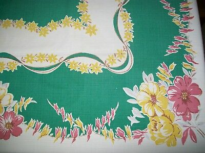 VINTAGE TABLECLOTH  ASSORTED FLOWERS 52 x 66