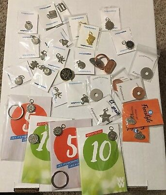 Lot of 32 Weight Watchers WW NEW weight loss charms/pins mostly new