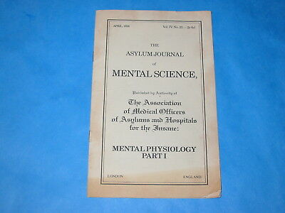 pamphlet -  The Asylum Journal of Mental Science 1858 Mental Physiology Part 1