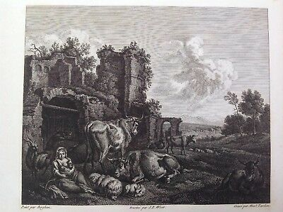 Antique Engraving Print Paysage Jean Wicar Berghem French 1789 Ruins Cattle