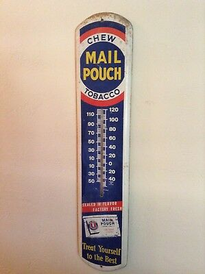 "Vintage Metal 39"" Mail Pouch Chewing Tobacco Thermometer"