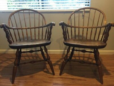 Habersham Plantation Ash Windsor Sack Back Knuckle Arm Chairs (2)