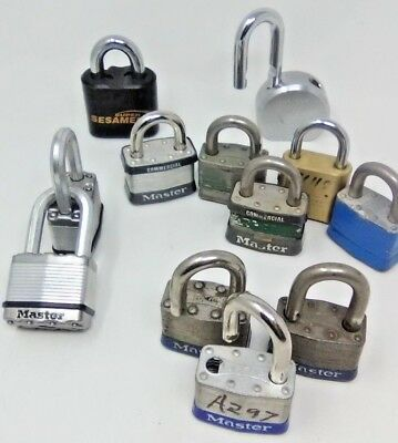 11 Master Locks Mixed  & 1 Super Sesamee K636 NO KEYS OR COMBINATIONS