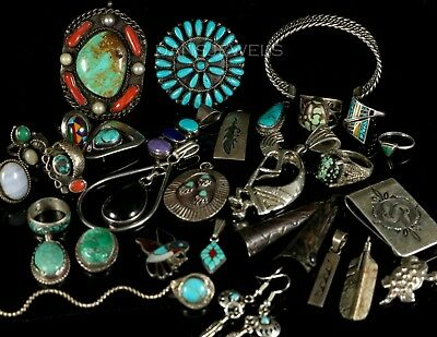 Antique Old Pawn Vintage Navajo 255 Gram LOT Sterling Turquoise Jewelry Items