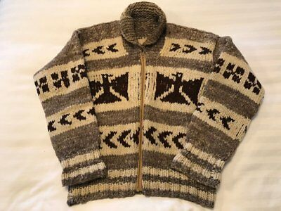 Vintage 100% Wool Beige Brown Eagle Thunderbird Native Tribal Cowichan Sweater L
