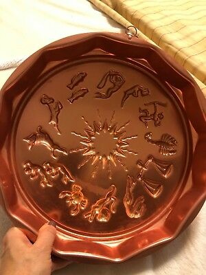 Vintage 70s Zodiac Copper Colored Aluminum  Jello Cake Pan Mold Wall Hanging
