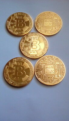 5 PCS BITCOIN Commemorative Round Collectors Coins Gold Plated