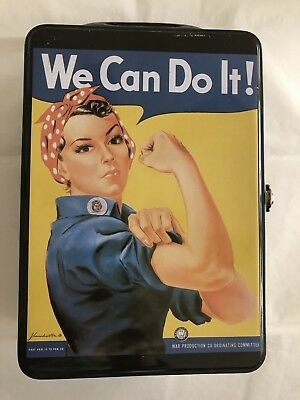 We Can Do It Rosy The Riviter Metal Lunch Box 7x5 In. Women's War Efforts