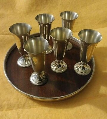 Vintage Alvin Sterling Silver Tray And 6 Cups