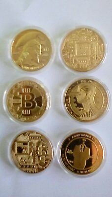 6 PCS BITCOIN Commemorative Round Collectors Coins (assortment)   Gold Plated
