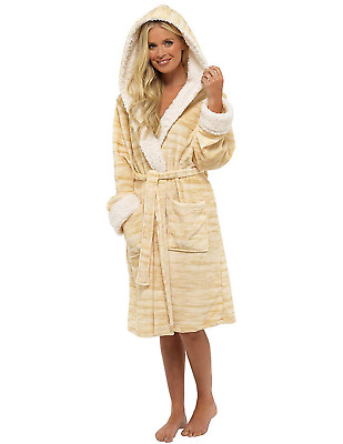 39d1bc3915 Ladies Dressing Gown Shaggy Soft Fleece Women Gowns Robe Bathrobe  Loungewear.