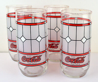 4 Vintage Tiffany Style Coke Frosted Stained Glass Coca Cola Drinking Glasses