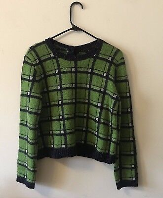 Marc By Marc Jacobs Womens Prudence Plaid Green Sweater Sz M