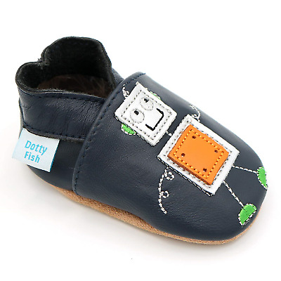 Dotty Fish Soft Leather Baby Shoes. 0-6 Months to 4-5 Years. with Dinosaur,...