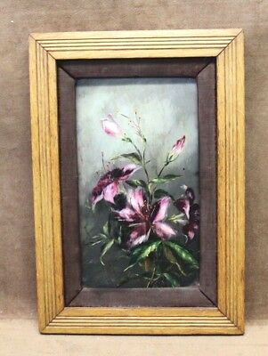 Signed Estate Found Original Antique Orchid Oil Painting on Wood Panel (Framed)