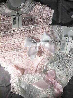 Spanish Knitted Baby Girls Pink White Romper 0-3 3-6 6-12 12-18 18-24 Mths 🎀