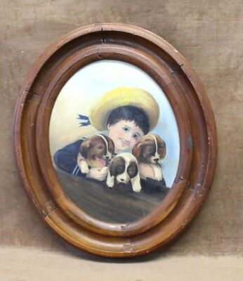 Estate Found Original Antique Boy W/ 3 Puppies Oil Painting on Wood Panel Oval
