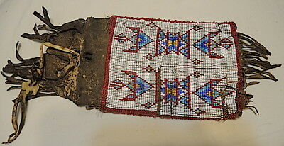 19Th.c.native American Indian Beaded Bag,pouch,carved Buffalo,plains