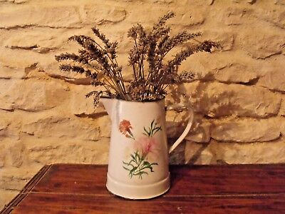 Antique Vintage French Enamel Jug Floral