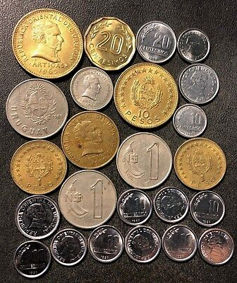 Old Uruguay Coin Lot - 1953-Present - 24 Great Coins - Lot #J15