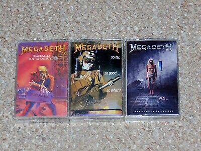 Lot of 3 Megadeth Cassette Tapes: Peace Sells, Countdown to Extinction More