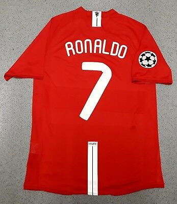 Retro Manchester United 2008 Champions League Football Shirt Man Utd RONALDO M L