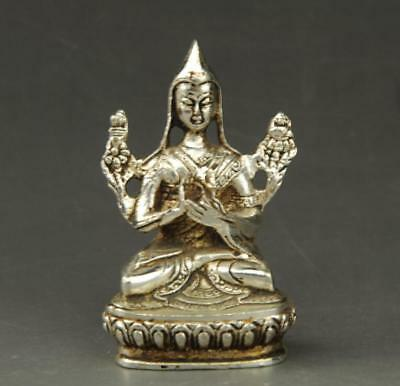 chinese old Tibet silver hand-carved Buddha Buddha statue a01