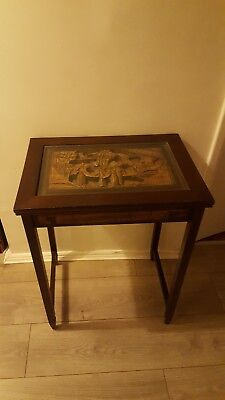 Vintage Chinese Oriental carved Picture top Lamp Side Chair Console Hall Table