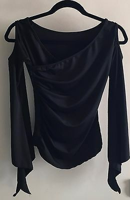 Open shoulders,Small black ballroom dance top for smooth/latin