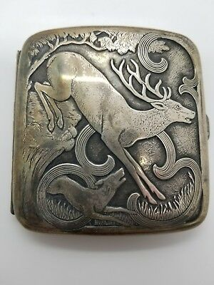 Large Sterling Silver Cigarette Holder Compact Deer Giant Stag VERY NEAT Antique