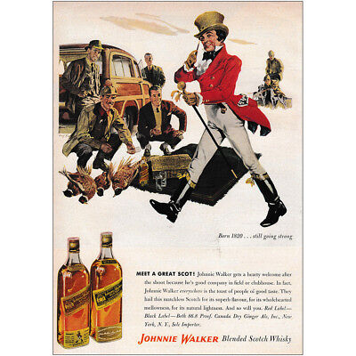 1953 Johnnie Walker: Meet a Great Scot Vintage Print Ad