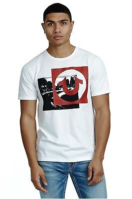True Religion Mens $69 T-Shirt Box Picture SS Crew Neck Graphic Tee 100069