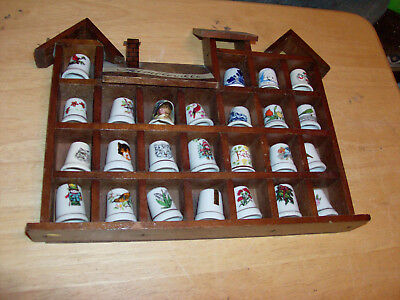 Thimbleville Wood Thimble Holder With 25 Thimbles Wood Display